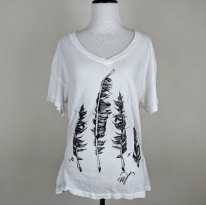 Wildfox White V Neck Feather Graphic T Shirt
